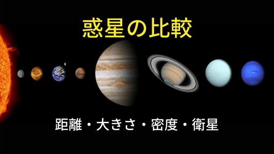 惑星の比較(距離・大きさ・密度・衛星数)